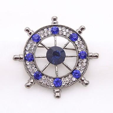 Męskie Broszki Rhinestone Klasyczny Modny Imitacja diamentu Stop Circle Shape Gold Silver Biżuteria Na Codzienny Formalny