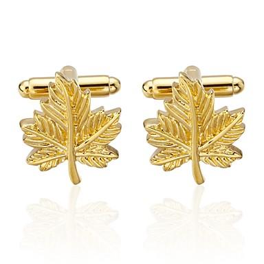Golden Manžetové knoflíčky Miedź Leaf Shape Biżuteria Męskie Biżuteria kostiumowa Na Randka