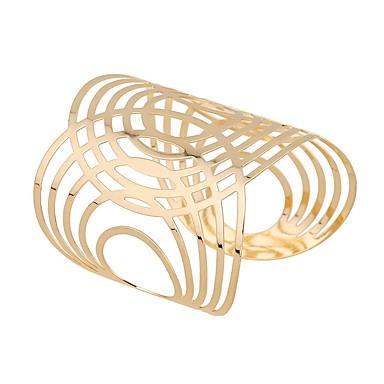 Damskie Ponadgabarytowych Bransoletki cuff - Klasyczny Ponadgabarytowych Modny Circle Shape Gold Bransoletki Na Codzienny