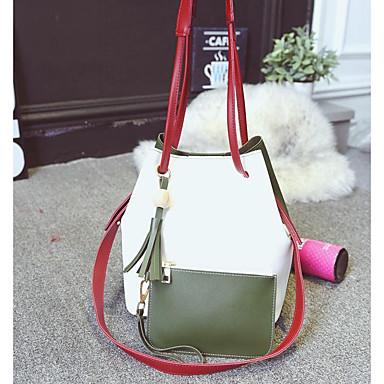 Damen Taschen Polyester / PU Umhängetasche 2 Stück Geldbörse Set Quaste Weiß / Rote