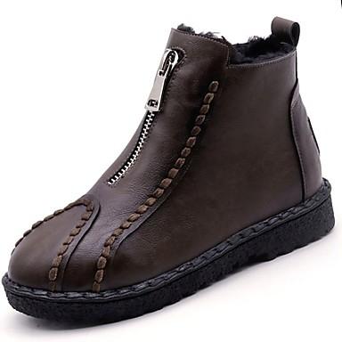 Damskie Obuwie Guma Zima Obuwie w stylu wojskowym Buciki Okrągły Toe Black / Coffee