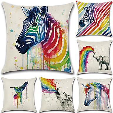 6 szt Cotton / Linen Poszewka na poduszkę Pokrywa Pillow, Wzory graficzne Euro Tradycyjny / Classic Retro