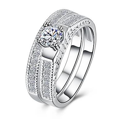 Damskie Cyrkonia Wzór geometryczny Ring Finger paznokci - Miedź, Posrebrzany Duże, Prosty, Vintage 6 / 7 / 8 Silver Na Prezent / Codzienny