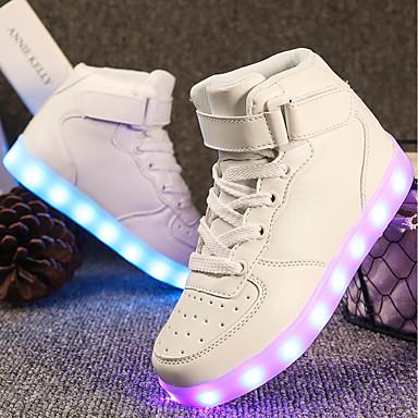baratos LED Sapatos-Para Meninos Materiais Customizados / Courino Tênis Little Kids (4-7 anos) / Big Kids (7 anos +) Conforto / Tênis com LED Cadarço / Velcro / LED Rosa empoeirada / Vermelho / Branco Outono / Inverno