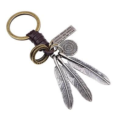 Łańcuszek do kluczy Złoty Skrzydła / Feather Skórzany, Stop Prosty, Klasyczny Na Impreza / Ulica