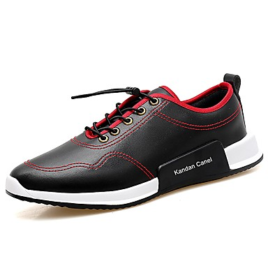 Męskie Buty Skóra Wiosna Jesień Comfort Tenisówki Na Casual White Black Black/Red