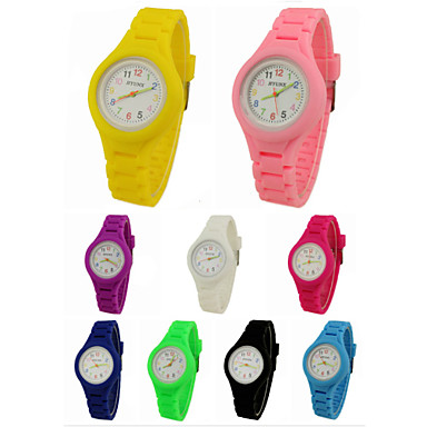Armbanduhr Quartz Armbanduhren für den Alltag Silikon Band Analog Charme Freizeit Schwarz / Weiß / Blau - Grün Rosa Hellblau