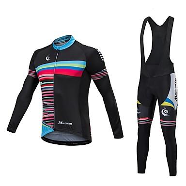 Malciklo Długi rękaw Koszulka i spodnie z szelkami na rower - White Black Rower Zestawy odzieży, Keep Warm, Quick Dry, Anatomiczny