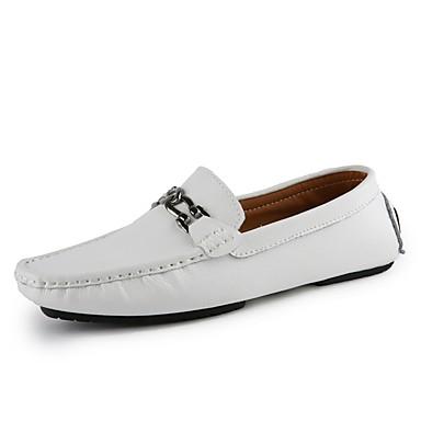 Męskie Buty Derma Wiosna Comfort Mokasyny i pantofle na Casual White Black Niebieski