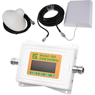 Mini intelligente lcd display gsm980 900 mhz handy signal booster repeater mit outdoor panel antenne / indoor decke antenne weiß