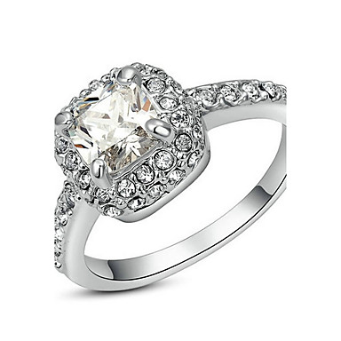 Damen Kubikzirkonia vergoldet - Elegant Silber Ring Für Hochzeit / Verlobung