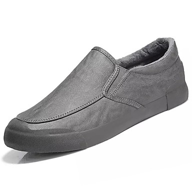 Męskie Buty PU Derma Zima Comfort Mokasyny i pantofle na Casual Black Gray Brown