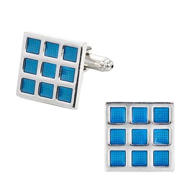 Kwadratowe wycięcie Square Shape Niebieski Manžetové knoflíčky Miedź Romantyczna Ślub Męskie Biżuteria kostiumowa