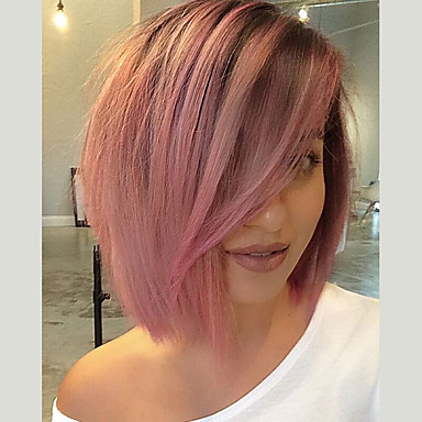 povoljno Perike i ekstenzije-Prednja perika od sintetičkog čipke Yaki Stil S mldom kosom Lace Front Perika Pink Black / Pink Sintentička kosa Žene Pink Perika Kratko EEWigs