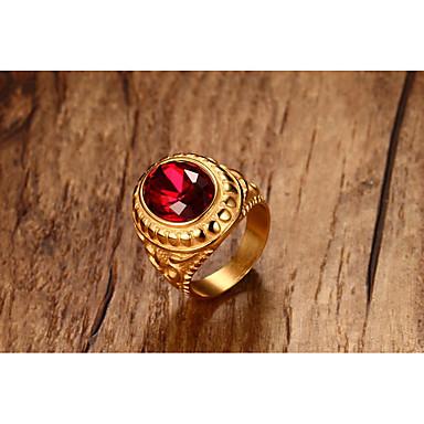 Męskie Band Ring Syntetyczny Rubin Gold Tytan Circle Shape Vintage Rock Halloween Codzienny Ceremonia Biżuteria kostiumowa