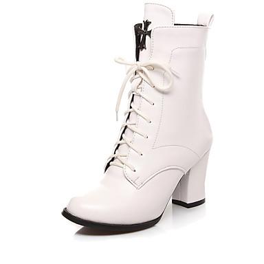 Mulheres Sapatos Courino Inverno Outono Botas da Moda Botas Caminhada Salto Robusto para Casual Ao ar livre Escritório e Carreira Branco