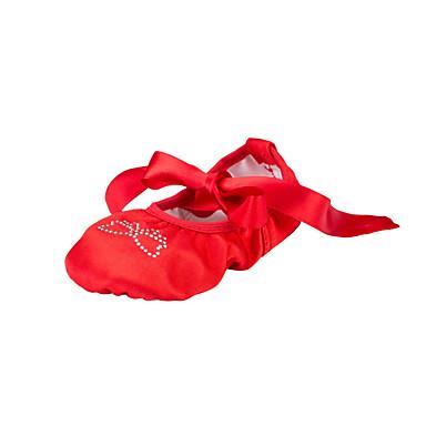 Damskie Baletki Jedwab Płaskie Diament akrylowy Płaski obcas Buty do tańca Czerwony / w pomieszczeniach