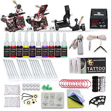 Μηχανή τατουάζ Βασικό Σετ - 3 pcs Μηχανήματα τατουάζ με 10 x 5 ml μελάνια τατουάζ, Επαγγελματικό Τροφοδοσία LCD No case 2 x μηχανή τατουάζ από χυτοσίδηρο για γραμμές και σκίαση, 1 x