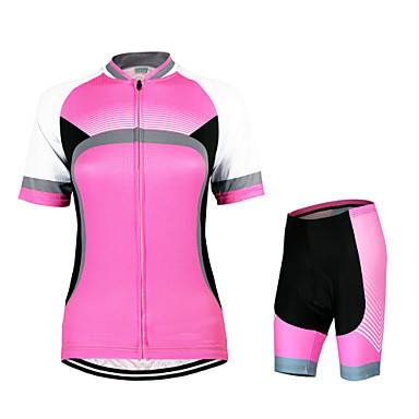 Arsuxeo Women's Short Sleeves Cycling Jersey with Shorts - Red Bike Clothing Suits, Quick Dry, Anatomic Design, Breathable, Spring Summer