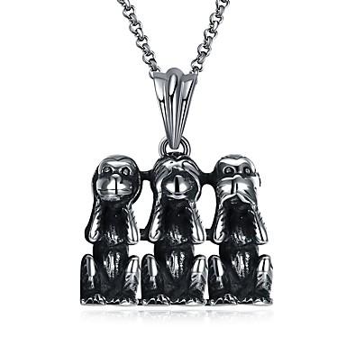 levne Dámské šperky-Pánské Náhrdelníky s přívěšky Opice Zvíře Prohlášení Hip-hop Nerez Titanová ocel Stříbrná Náhrdelníky Šperky 1 Pro Karneval Miláček
