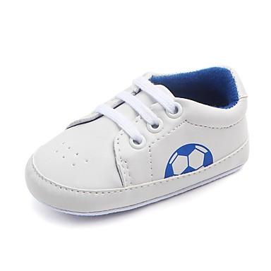 baratos Sapatos de Criança-Para Meninos Courino Rasos Crianças (0-9m) Conforto / Primeiros Passos / Sapatos de Berço Elástico Preto / Vermelho / Azul Primavera / Outono