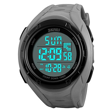 cheap Women's Watches-SKMEI Men's Sport Watch Military Watch Digital Watch Quartz Quilted PU Leather Black / Grey / Pool 50 m Water Resistant / Waterproof Calendar / date / day Chronograph Digital Casual Fashion -