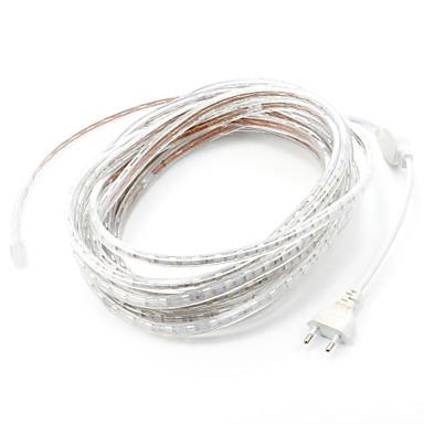 billige LED Strip Lamper-8m / 1pc 220v 5050 led fleksibel tape rep stripe lys xmas utendørs vanntett hage utendørs belysning eu plug