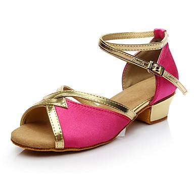 בגדי ריקוד נשים נעליים לטיניות חומרים בהתאמה אישית עקבים עקב נמוך מותאם אישית נעלי ריקוד פוקסיה
