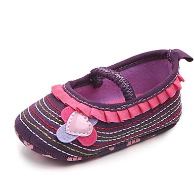 baratos Sapatos de Criança-Para Meninas Tecido Rasos Crianças (0-9m) Conforto / Primeiros Passos / Sapatos de Berço Apliques / Elástico Roxo / Rosa empoeirada / Branco Primavera Verão