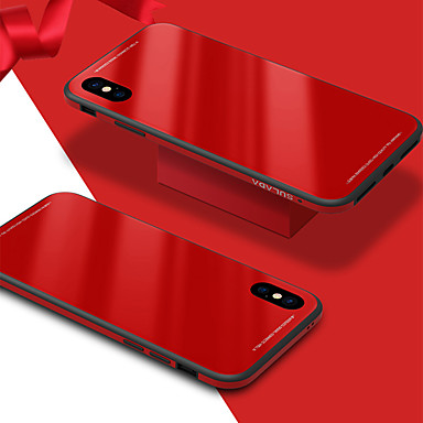 Kılıf Na jabłko iPhone X / iPhone 8 Odporne na wstrząsy / Lustro Czarne etui Jendolity kolor Twarde Szkło hartowane na iPhone X / iPhone 8 Plus / iPhone 8