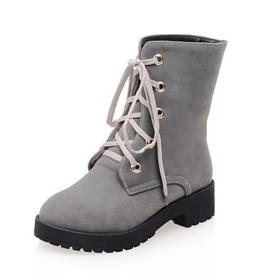 Mujer Zapatos Semicuero Invierno Botas de Moda / Botas hasta el Tobillo Botas Dedo redondo Mitad de Gemelo Hebilla Negro / Gris Jlej2TjT