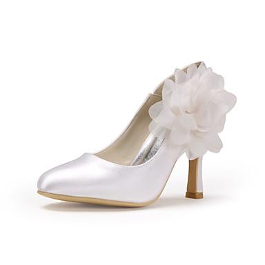 Mujer Zapatos Seda Primavera / Verano Pump Básico Zapatos de boda Tacón Stiletto Punta cerrada Apliques Blanco / Boda / Fiesta y Noche yZ68Q