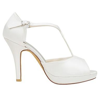 Ivoire Boucle Bout Talon Eté Femme ouvert Escarpin Chaussures Basique Chaussures mariage Aiguille amp; de Satin 06426649 Evénement Elastique Soirée C6xOpqF