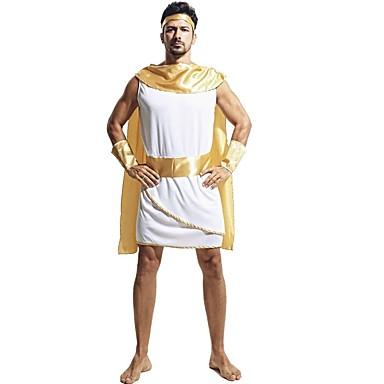 Athena Starożytna Grecja Kostium Męskie Kostium White+Yellow Postarzane Cosplay Terylene Bez rękawów Krótki kimonowy Do kolan
