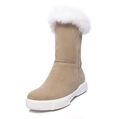 Damskie Obuwie Nubuk Polar Zima Jesień Śniegowce Modne obuwie Kozaki na obcasie Buciki Płaski obcas Okrągły Toe Kozaczki / kozaki do