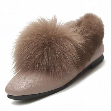 Damskie Obuwie PU Zima Comfort Mokasyny i pantofle Płaski obcas Okrągły Toe na Casual White Black Khaki