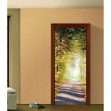 levne Samolepky na zeď-Samolepky na dveře - 3D samolepky na zeď Krajina / Botanický motiv Obývací pokoj / Ložnice / Koupelna
