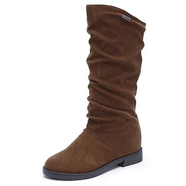voordelige Dameslaarzen-Dames Laarzen Lage hak Nubuck leder Kuitlaarzen Snowboots Winter Zwart / Bruin / Wijn / EU39