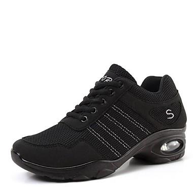 baratos Shall We® Sapatos de Dança-Mulheres Com Transparência Tênis de Dança Têni Salto Baixo Personalizável Preto / Preto / Vermelho
