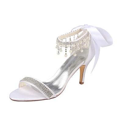 Cristal mariage Eté Chaussures ouvert Perle Femme Satin Blanc Basique Escarpin Aiguille Elastique 06438327 Talon de Chaussures Bout wxO8OqAt