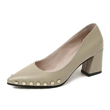 Damen Schuhe PU Frühling Sommer formale Schuhe Pumps Komfort High Heels Niedriger Heel Runde Zehe für Büro & Karriere Kleid Schwarz Beige
