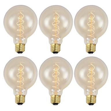 abordables Ampoules électriques-GMY® 6pcs 40 W E26 / E27 G95 Blanc Chaud 2200 k Rétro / Intensité Réglable / Décorative Ampoule incandescente Edison Vintage 220-240 V