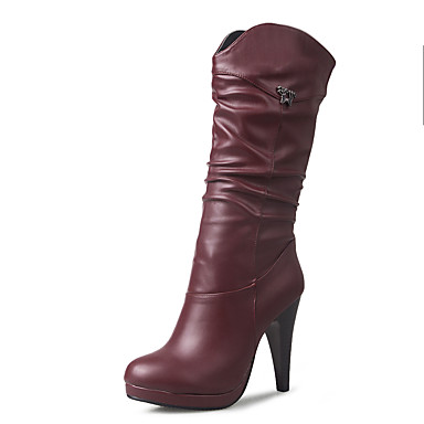 4c4acd78761 Γυναικεία Παπούτσια Δερματίνη Φθινόπωρο / Χειμώνας Μοντέρνες μπότες /  Μποτίνι Μπότες Τακούνι Στιλέτο Στρογγυλή Μύτη Μπότες ως το Γόνατο /