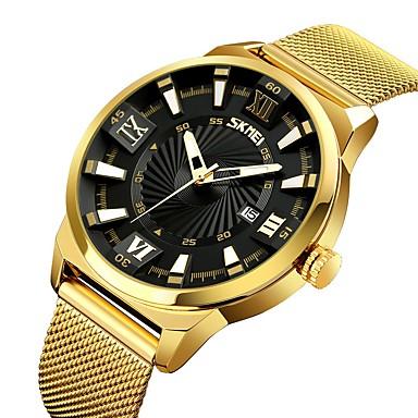 baratos Relógios Senhora-SKMEI Casal Relógios Luxuosos Relógio Esportivo Relogio Dourado Quartzo Aço Inoxidável Dourada 30 m Impermeável Calendário Relógio Casual Analógico Luxo Casual Fashion - Branco Preto Azul