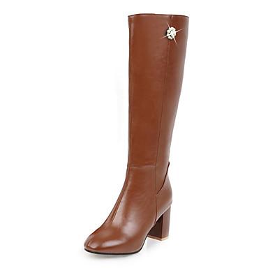 Mujer Zapatos PU Otoño invierno Innovador Botas Heterotypic Heel Dedo redondo Hasta la Rodilla Rojo / Rosa / Fiesta y Noche OkafAJ