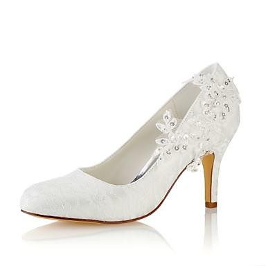 Mujer Zapatos Encaje / Satén Elástico Primavera / Otoño Pump Básico Zapatos de boda Tacón Cuadrado Dedo redondo Perla Marfil / Boda c5LFjiOEy