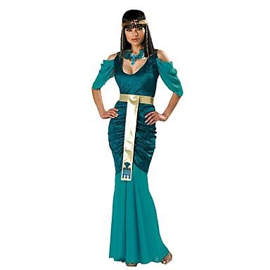 Cleopatra Starożytny Egipt Kostium Damskie Sukienka Kostium imprezowy Bal maskowy Zielony Postarzane Cosplay Bawełna Krótki rękaw Zimne ramię Do kostki Kostiumy na Halloween