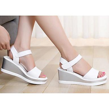 cd7d4617268e Mujer Zapatos Cuero Primavera Otoño Confort Sandalias Tacón Cuña para  Casual Blanco Negro Plata