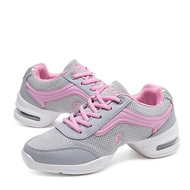baratos Shall We® Sapatos de Dança-Mulheres Sapatos de Dança Malha Respirável Tênis de Dança Têni Salto Baixo Personalizável Preto / Branco / Cinzento / EU38