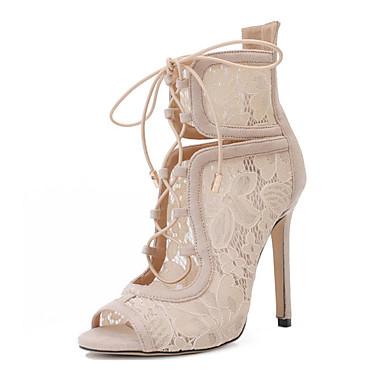 Mujer Zapatos Semicuero Primavera / Otoño Confort / Innovador / Botas de Moda Sandalias Tacón Stiletto Pajarita Negro / Almendra / Boda lYv0mVY